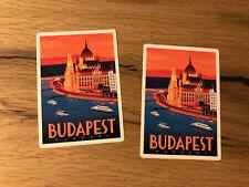 2x Budapest Reise Aufkleber Koffer Ungarn Balaton Oldtimer Retro Vintage TR005