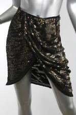 ISABEL MARANT Womens Black + Bronze Silk Sequin Draped High-Waist Skirt 2/34 NEW