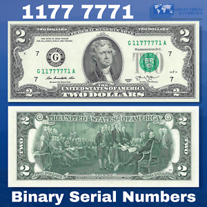 2013 FRN $2 Two Dollar Bill Chicago, Binary Serial Numbers G11777771A, UNC