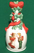 "1989 Avon Porcelain ""Under the Mistletoe"" Christmas Bell Red Bow - Euc"
