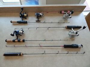 LOT OF 6-ICE FISHING RODS, REELS AND COMBOS