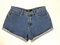 Afends High Waisted Cotton Denim Blue Short Shorts Size 12