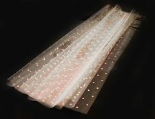 WIDE CLEAR CELLOPHANE ROLL FLORIST CRAFT FILM WRAP Pink Dots + Free Pull Bow
