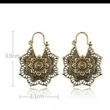 Ethnic Gold or Silver Earrings Mandala Hoops Boho Yoga
