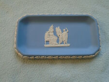 More details for vintage blue wedgewood jasperware rectangular dish classical scene