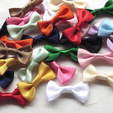14/56PCS Satin Ribbon Flowers Bows Appliques Wedding Decor Lots Mix A447