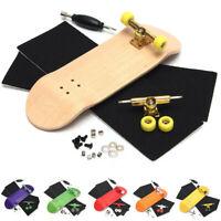 Complete Wooden Fingerboard Finger Skate Board Grit Box Foam Tape Wood Colours