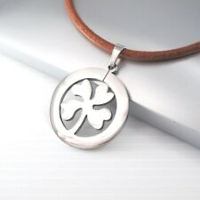 Silver Irish Celtic Four Leaf Clover Pendant Womens Mens Brown Leather Necklace