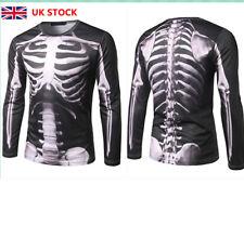 Men Boy Long Sleeve 3D Graphic Halloween Cosplay Printed Tops Skeleton T-shirt