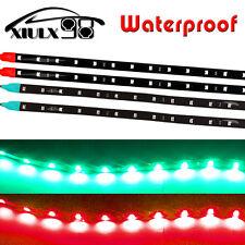 4PCS 2Ft Boat Bow Navigation LED Light Submersible Marine Strips Red&Green 12V