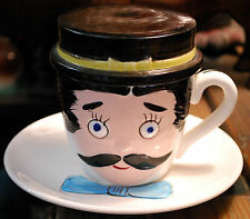 Vintage 'FOR POP ONLY' Moustachioed Man Cup/ Saucer W Tie HAT IS ASHTRAY! Japan