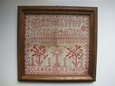 Antique French Alphabet Needlework Sampler By Clemence Regnier 1800's 19th cent