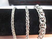 """3/4/7/8MM Mens  16-60"""" STAINLESS STEEL SILVER BRAIDED WHEAT ROPE CHAIN NECKLACE"""