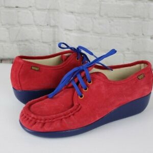 SAS Bounce Lace Up Moc Red Suede Comfort Oxford Blue Sole Womens Size 8.5 M NEW