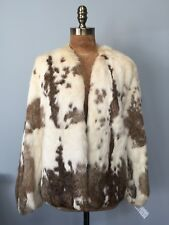 VINTAGE 1970-80'S SOFT REAL RABBIT FUR CLASSIC SHORT JACKET MOTTLED CREAM BROWN