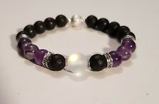 NEW Natural Amethyst Moonstone Lava Stone Essential Oil Diffuser bead Bracelet