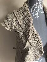 Jane Norman Women Cardigan Size 10 Beige Short Sleeved Ruffled Cotton Blend