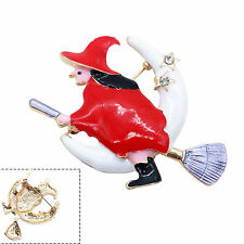 Womens Jewelry Red Flying Broom Witch Diamante Alloy Pins Brooch Halloween Gift