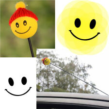 Top Yellow Happy Smiley ​Face With Wool Hat Car Antenna Pen Topper Aerial Ball
