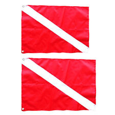 2x Red White Diver Down Boat Flag Marker for Scuba Diving Snorkeling 50/70cm
