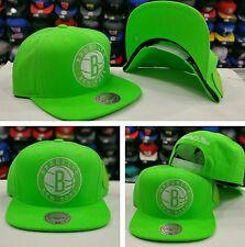 Exclusive Mitchell & Ness NBA Brooklyn Nets Neon Green Adjustable snapback Hat