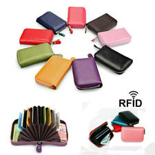 RFID Blocking Wallet Genuine Real Leather Credit Card Holder Zip Purse Men Women