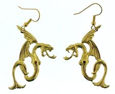 Dragon Earrings Large Cut Out Design Gold Tone