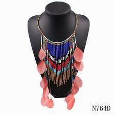 New Arrival Feather Necklace Brand Bead Pendant Choker Chunky Statement Necklace