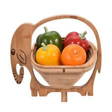 Unique Bamboo Wooden Elephant Folding Fruit Bowl or Basket