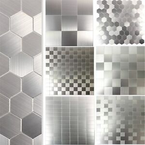 Metall Mosaik Fliesen Selbstklebend Mikros Silber | Küchenspiegel Fliesenspiegel