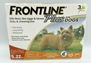FRONTLINE Plus for Small Dogs (5-22 lbs) Flea and Tick Treatment, 3 Doses New