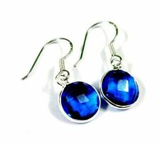 Delightful! Top Blue Tanzanite Faceted Quartz Sterling 925 Solid Silver Earring