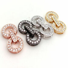 10x18mm 18k gold plated Cubic Zirconia micro pave circle clasp jewelry making