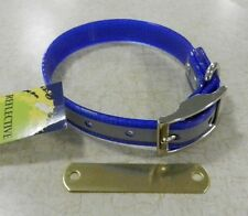 """HUNTING DOG COLLARS  102D-REFLECTIVE  16""""  BLUE COLLAR FREE BRASS NAMEPLATE"""
