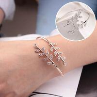 Women Crystal Leaf Bangles Adjustable Opening Bangles Bracelet Party Jewelry