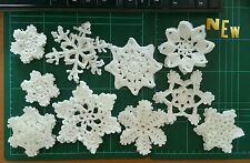 Lot Of 10 Crocheted Handmade Snowflakes Ornaments Doilies Christmas Gift Box