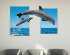 Nature In Dolphins Custom Wall Decals 3D Wall Stickers Art Dolphin Ocean M14