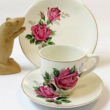 Mid-Cent Vintage Royal Tunstall English Creamware TEACUP TRIO (CSP)  Pink Rose