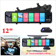 "Full HD 12"" 1080P 4G WiFi Android 8.1 Dual Lens Car DVR Dash Cam Rearview Mirror"