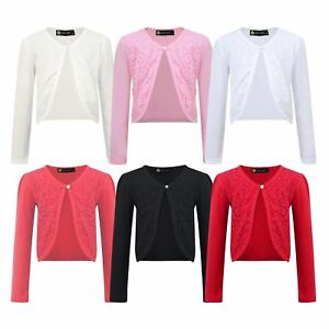 Girls Cardigan Open Front Bolero Shrug Kids Long Sleeve Jacket Top 3-14 Y