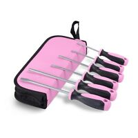 Pink Power 6 Piece Screwdriver Set w Tool Bag 3 Phillips 3 Flathead Large Small