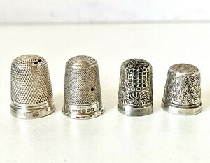 Antique Vintage Sterling Silver Joblot FOUR Thimbles - Spare & Repairs