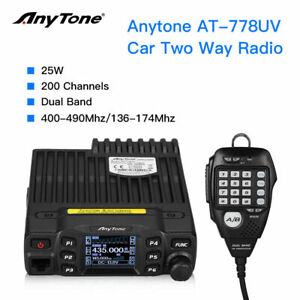 Anytone AT-778UV Dual Band Radio  2m 70cm Amateur 25 Watt with programming lead