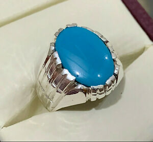 Mens Feroza Ring Handmade Firoza Ring Sterling Silver 925 Blue Turquoise Ring