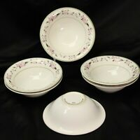 "MSE Martha Stewart Everyday Pink Hydrangea Soup Bowls 6.625"" Lot of 6"
