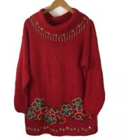 Vintage Victoria Jones Tunic Sweater Size L Red Beaded Floral Cowl Neck Long