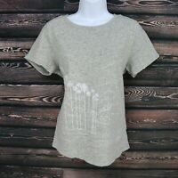 J. Crew Shirt Top Womens Size L Gray Embroidered Beach Scene 100% Cotton SOFT!