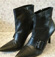Faith Black Leather Stiletto Ankle Boots Size 8. VGC