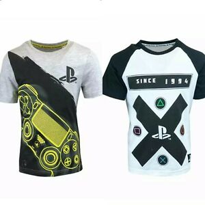 PlayStation Boys Top T-Shirt Short Sleeve Kids Childrens Games Console Casual