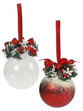 Rouge et blanc Frosty Arbre de Noël décorations LOT de 2 60830 nouveau 19644